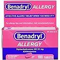 100-Count Benadryl Ultratabs Antihistamine Allergy Relief Tablets