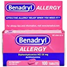 Benadryl Ultratabs Antihistamine Allergy Relief Tablets, Diphenhydramine HCl 25mg, 100 ct