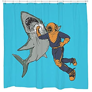 Diver Punching Shark Shower Curtain Nautical Bathroom Decor Waterproof 12 Hooks Included