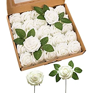 JOEJISN Artificial Flowers Latex Foam Roses 25pcs Real Looking Fake Roses with Stems for DIY Wedding Bouquets Centerpieces Arrangements Cake Flowers Baby Shower Party Home Decorations (White)