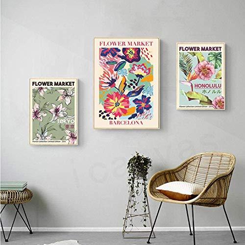 XMYC Imagen de póster Mercado de Flores Barcelona Honolulu Tokyo Flroal Posters...