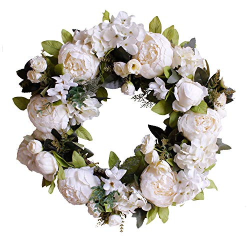 U'Artlines Natural Garlands Front Door Wreaths, Artificial White Peony Hanging Wreath for Home Party Indoor Outdoor Window Wall Wedding Party Decoration (Floral Wreath, 16'' White Peony)