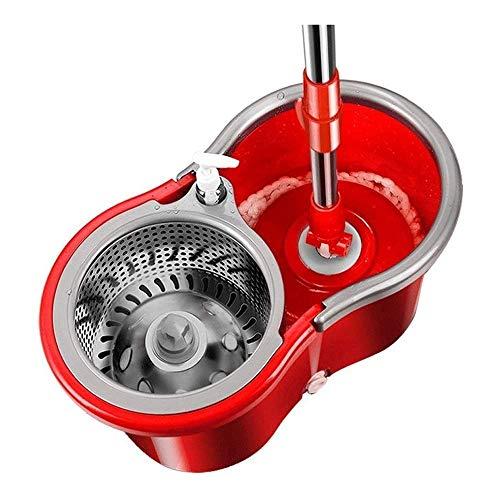 Sistema di secchio per scopa rotante Sistema di pulizia del pavimento con secchio rotante in acciaio inossidabile 360 con 3 ricariche per testine di ricambio in microfibra, impugnatura estesa Xping
