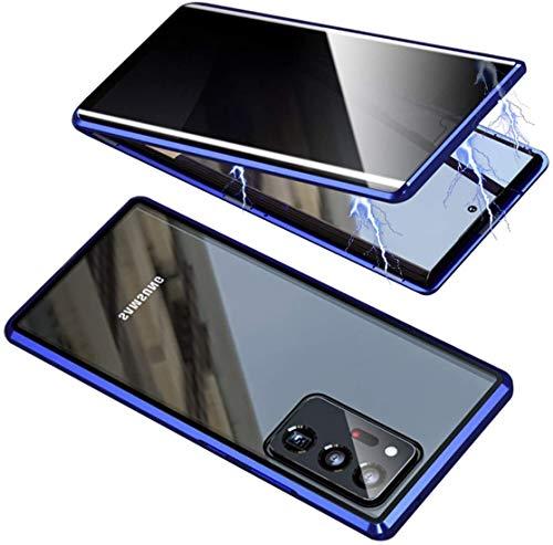 ONEYMM Funda para Samsung Galaxy S20 FE 5G Carcasa Adsorción Magnética Metal Caso Cobertura Anti espía Vidrio Templado Case Cover,Azul,for Samsung S20 FE