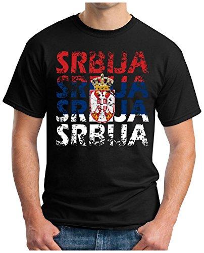 OM3® - Srbija - T-Shirt Serbien Serbia Fussball World Cup Soccer Fanshirt Sport Trikot, XXL, Schwarz