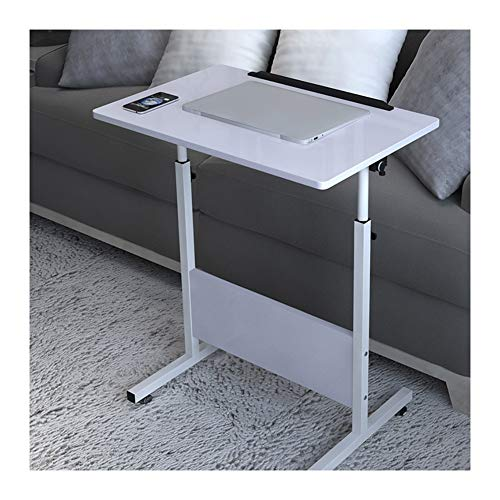 GYHUJI Lazy Bedside Table Mobile Lap Table Portable Mobile Laptop Computer Stand Desk Cart Tray Side Table For Bed Sofa (Color : White, Size : 60x40cm)