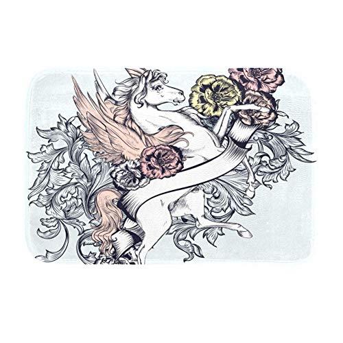 TIZORAX Vliegen Eenhoorn Paard Met Bloem Gebied Tapijten Anti-Skid Shaggy voor Eetkamer Woonkamer Kinderen Tapijt Comfy Slaapkamer 63 x 48 inch