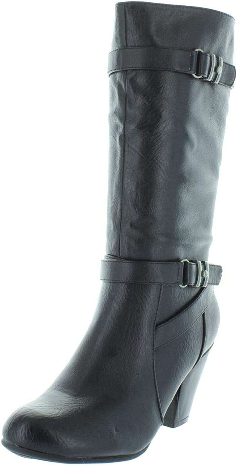 Relativity Womens Carmen Faux Leather Heel Mid-Calf Boots