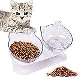 WELLXUNK® Tazón para Mascotas, Cuencos para Gatos, Cuencos para Perros, Comedero para Mascotas con Soporte Elevado 15° Inclinación Antideslizante, para Gatos y Perros Pequeños (Transparente)