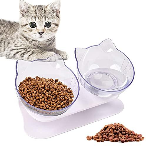 WELLXUNK® Ciotole per Gatti, Ciotola Gatto, Doppio Gatto Ciotola con Supporto, Riduce La Pressione sulle Vertebre Cervicali del Gatto, 15°Inclinato Ciotole, per Animali Ciotola(Trasparente)