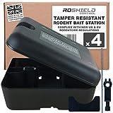 Roshield 4 x Baiter Rat et boîte de la Souris pour Le déploiement sûr des pièges et appâts (Non Inclus)