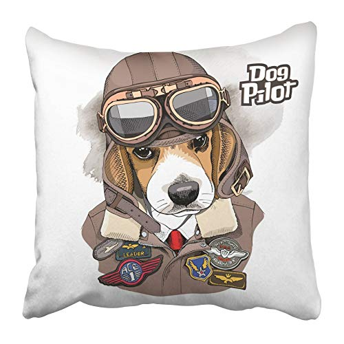 Fundas de cojín Retrato de Perro marrón El Beagle en Casco de Aviador Chaqueta Parche de Costura Gafas Air Army 40X40 Cm Funda de cojín