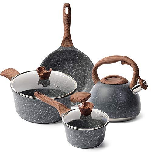 Caannasweis Nonstick Kitchen Cookware Set, Pots and Pans Set Includes Nonstick Frying Pan, Saucepan, Cooking Pots Casserole Dish with lids, Stone Tea Kettle - 4 Piece