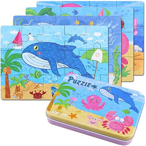 BBLIKE Kinderpuzzle, 64PCS Puzzle Spielzeug, Vier schwierigkeitstufen Lernspielzeug Spiel für Kinder 3 4 5 Jahren Alt(Delphin)