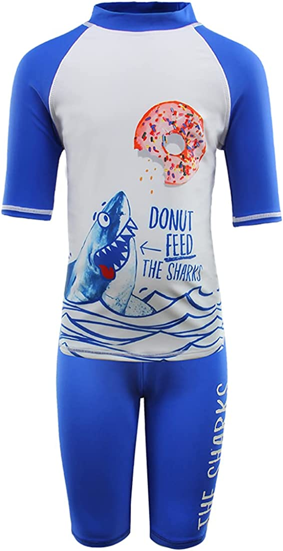 Julysand Toddler Boys' Rash Guard Sets Whale Swimsuit Short Sleeve Two Piece Swimwear Sun Protection Suit