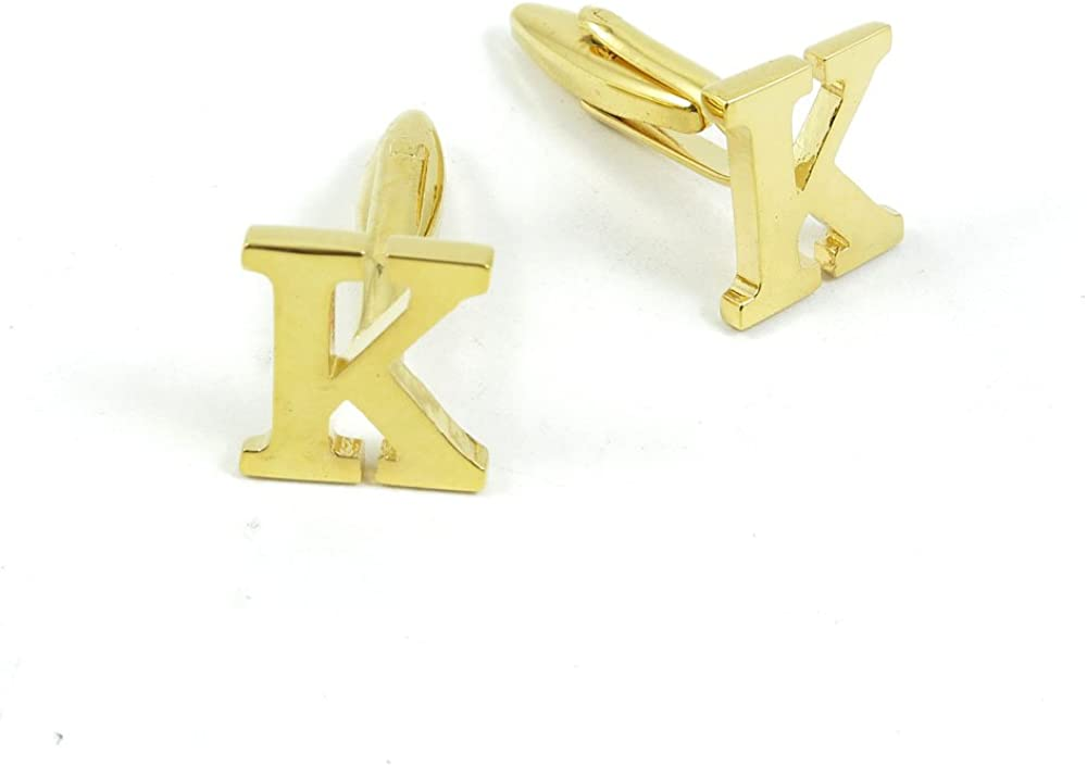 Cufflinks Cuff Links Fashion Mens Boys Jewelry Wedding Party Favors Gift 329AH0 Golden Letter K