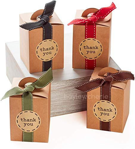 Hayley Cherie - Gift Rustic Treat Boxes with Ribbons and Thank You Stickers (20 Pack) - 4.7 x 3.5 x 3.5 inches - Thick 350gsm Card (Small Kraft)