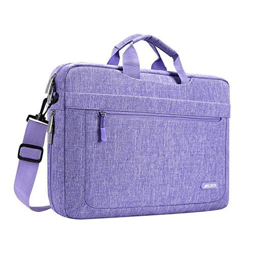 MOSISO Laptop Shoulder Bag Compatible with MacBook Pro/Air 13 inch, 13-13.3 inch Notebook Computer, Polyester Messenger Carrying Briefcase Sleeve with Adjustable Depth at Bottom, Purple
