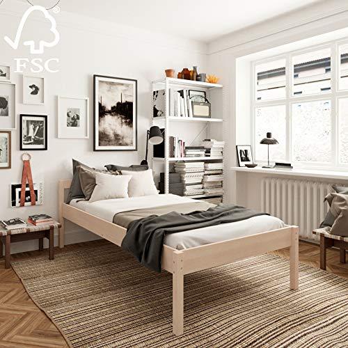 Seniorenbett 100x200 cm Triin mit Rollrost aus hartem FSC Birken Massivholz - über 700 kg - Holzbett 55 cm hoch mit Kopfteil - Stabiles Einzelbett für Senioren