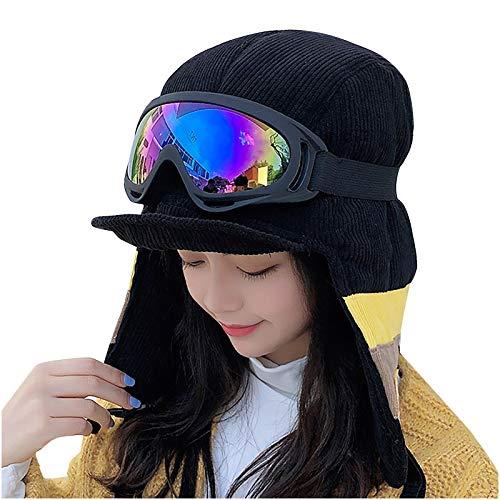 Lenfesh Sombrero y Gafas de Dos Piezas,Gorro de Punto de Lana Cálida de Otoño E Invierno para Mujer,Más Gorro Grueso de Terciopelo