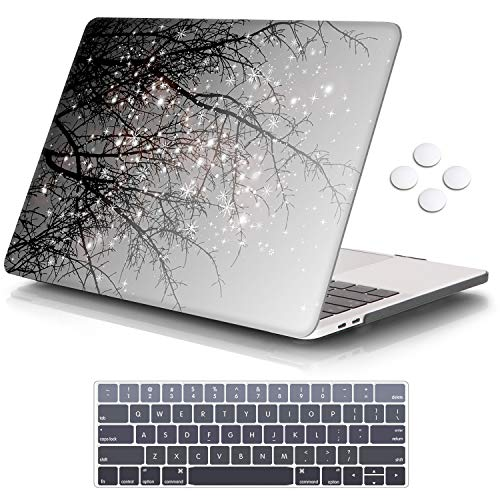 iCasso MacBook Pro 13 inch Case 2019 2018 2017 2016 Release A2159/A1989/A1706/A1708, Plastic Hard Shell Case with 5 Rows Keyboard Cover Compatible with Newest MacBook Pro 13' - Gray Tree