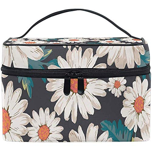 Cosmetic Bag, Daisy Flower Travel Makeup Organizer Bag Cosmetic Case Portable Train Case for Women Girls