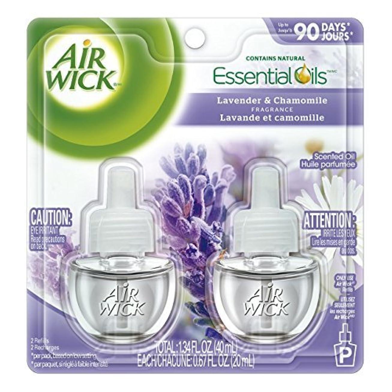 サッカー誠実さ病気の【Air Wick/エアーウィック】 プラグインオイル詰替えリフィル(2個入り) ラベンダー&カモミール Air Wick Scented Oil Twin Refill Lavender & Chamomile (2X.67) Oz. [並行輸入品]