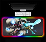 Mouse Pads Ahri and Overwatch Tracer Game Large Computer Mouse Pad Gamer Desktop Backlit Mat Gaming RGB Led Mat 31.49x11.81x0.15 inch
