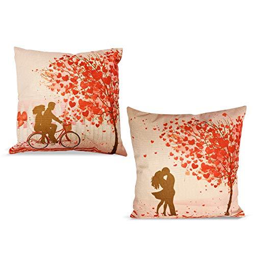 Funda de Cojín de San Valentín, 2 piezas de Funda de Almohada Romántica para Amantes de la Hoja de Arce, Funda de Almohada de lino de 18 × 18 Pulgadas para Sofá/Cama/Coche/Hogar
