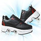 HealHeatersⓇ Zapatos con 4 Ruedas Patines 2 En 1 Multiusos De Deformación Patines Automáticos Ajustable Quad Roller Safe Durable Retráctil para Mujer,Black+Red,40
