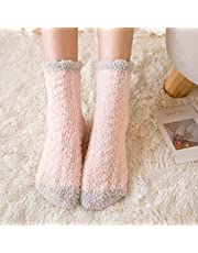 TINGS - Calcetines Rosas Gruesos cálidos para Mujer, Color Puro, otoño Invierno, Calcetines borrosos de Terciopelo Coral japonés, Color Rosa