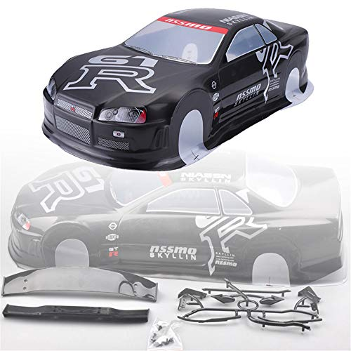 LaDicha 1Pc Box Pack 020Gr 190Mm Painted PVC Body Shell +Rear Wing For 1/10 RC Drift Racing Car Model Parts