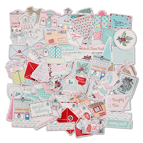 Navy Peony Vintage Winter Holiday Stickers (70 Pack) - Leuk, Waterdicht, Klein | Decoratieve Seizoensgebonden Stickers voor Enveloppen, Scrapbook, Ambachten