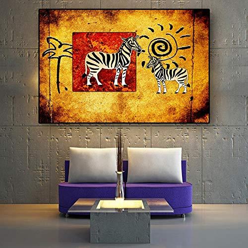 hetingyue Cebra Africana Pintura al óleo Pintura del Arte Abstracto Retro Paisaje nórdico Carteles e Impresiones Sala de Estar Mural Art 40x60cm
