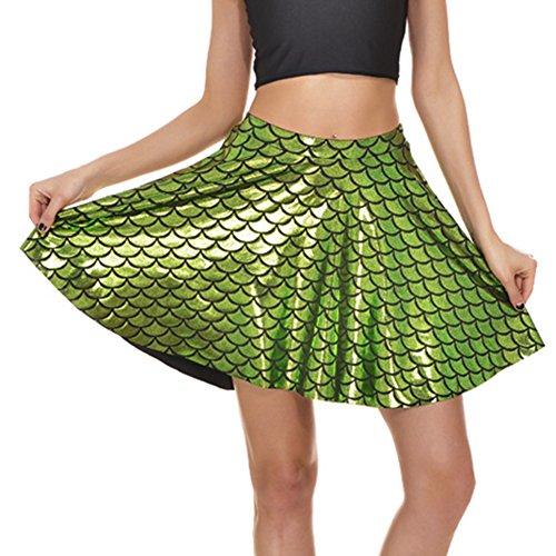 WEIMEITE Brillante Escalas Pescado Fiesta Navidad Falda Linda Brillante Cola Sirena Mini Acampanado Hastaa Rodilla Faldas para Mujeres