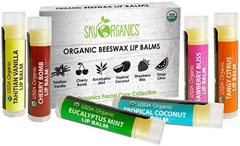 USDA Organic Lip Balm by Sky Organics – 6 Pack Assorted Flavors – With Beeswax, Coconut Oil, Vitamin E. Best Lip Butt...