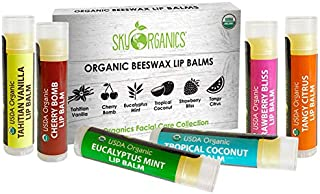 USDA Organic Lip Balm by Sky Organics – 6 Pack Assorted Flavors – With Beeswax, Coconut Oil, Vitamin E. Best Lip Butter Ch...