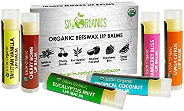 USDA Organic Lip Balm by Sky Organics – 6 Pack Assorted Flavors – With Beeswax, Coconut Oil, Vitamin E. Best Lip Butter Chapstick for Dry Lips- For Adults and Kids Lip Repair (Variety Pack of 6)