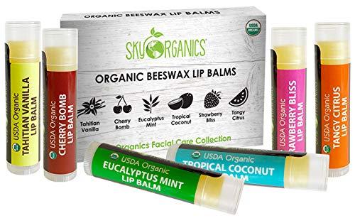 USDA Baume à lèvres Bio par Sky OrganicsPack de 6 baumes Plusieurs parfums Avec cire d'abeille, huile de coco, vitamine E Pour lèvres sèches Adultes et enfantsFabriqué aux USA.-