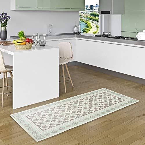 Pergamon Vinyl Teppich Küchenläufer Evora Fliesenoptik Mintgrün in 2 Größen