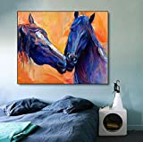 hetingyue Leinwandmalerei Kalligraphie Aquarell Pferd Poster Tier Wandbild Wohnzimmer Badezimmer Dekoration rahmenlose Malerei 30x40cm