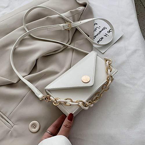 LOH Solid Color Crossbody Bags Femmes Sacs à Main Femme Travel Chain Cross Body Bag, White, Mini