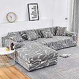 Fundas de sofá Chaise Longue Impresas en Forma de L para sofá de Sala de Estar Fundas elásticas Antipolvo elásticas para sofá de Esquina A20 de 3 plazas