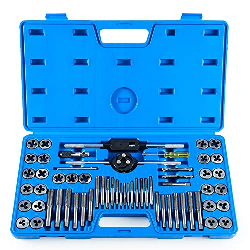 ORION MOTOR TECH 60-Piece Tap and Die Tool Set with SAE & Metric Sizes | Chromium Steel Home Improvement Tool Kit | Hand...