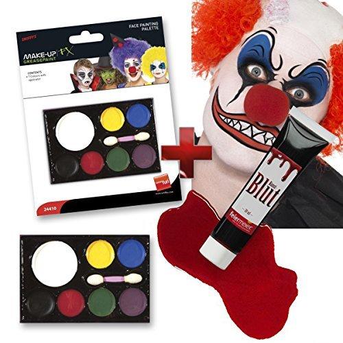 feiermeier Halloween Makeup Set: 7 Schminkfarben + 30ml Kunstblut Blut -- Clown Vampir Zombie Kinder...