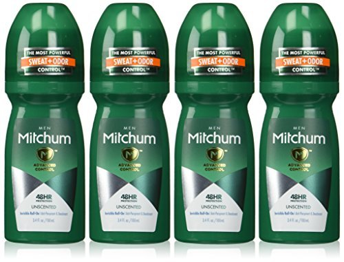 Mitchum Invisible Anti-Perspirant & Deodorant Roll-On, Unscented 3.4 oz (Pack of 4)