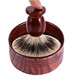 Yosoo Tazón de Madera Natural de jabón de Afeitado a Navaja de Herramientas de Copa Redonda Que 7,5 x 3,7 cm