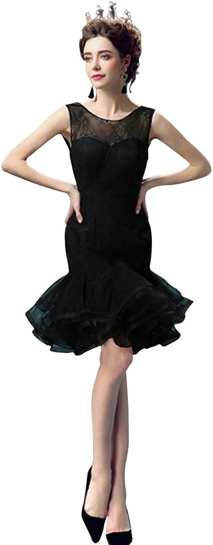 Vimans Short Black Scoop Layered Mermaid Bridal Wedding Reception Dresses