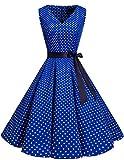 Bridesmay Women's 50s Christmas Vintage V-Neck Retro Rockabilly Swing Cocktail Party Dress Royal Blue Small White Dot XL