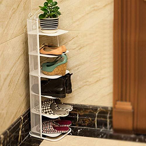 Kleine schmale Schuhablage Metall Weiß Schwarz Für Stiefel Balkon Eingang Ecke Eingang 3 Bis 7 Tier Stapelbar Regal Footstools (Farbe : Weiß, größe : 6 Tier)